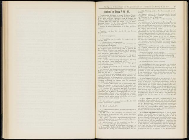 Raadsverslagen van de gemeente Leeuwarden, 1865-2007 (Notulen) 1931-07-07