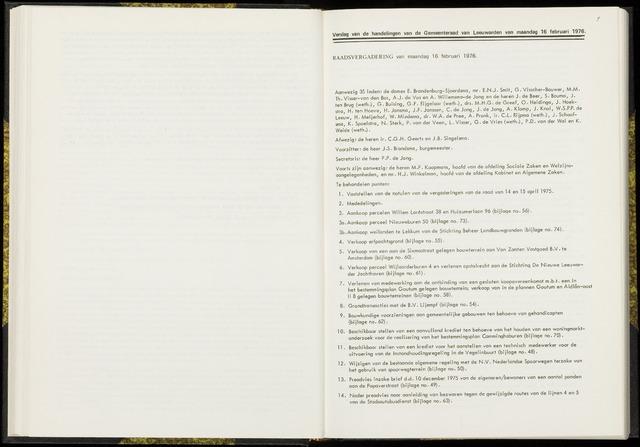 Raadsverslagen van de gemeente Leeuwarden, 1865-2007 (Notulen) 1976-02-16