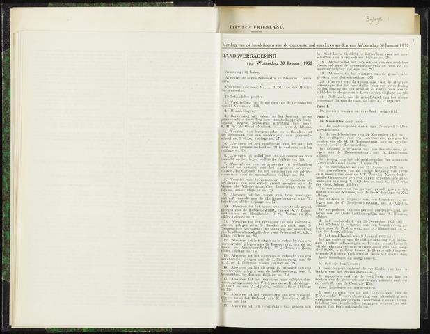 Raadsverslagen van de gemeente Leeuwarden, 1865-2007 (Notulen) 1952-01-30