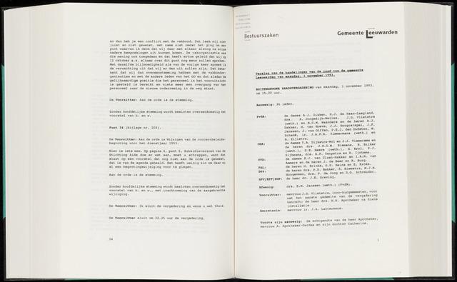 Raadsverslagen van de gemeente Leeuwarden, 1865-2007 (Notulen) 1993-11-01