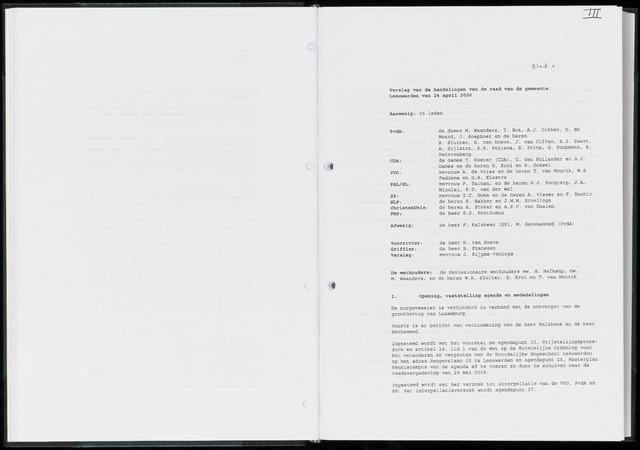 Raadsverslagen van de gemeente Leeuwarden, 1865-2007 (Notulen) 2006-04-24