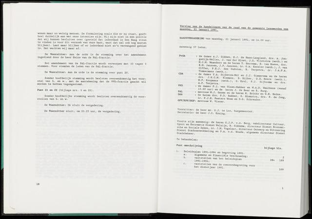 Raadsverslagen van de gemeente Leeuwarden, 1865-2007 (Notulen) 1991-01-21