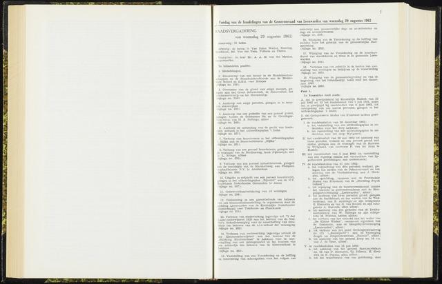Raadsverslagen van de gemeente Leeuwarden, 1865-2007 (Notulen) 1962-08-29