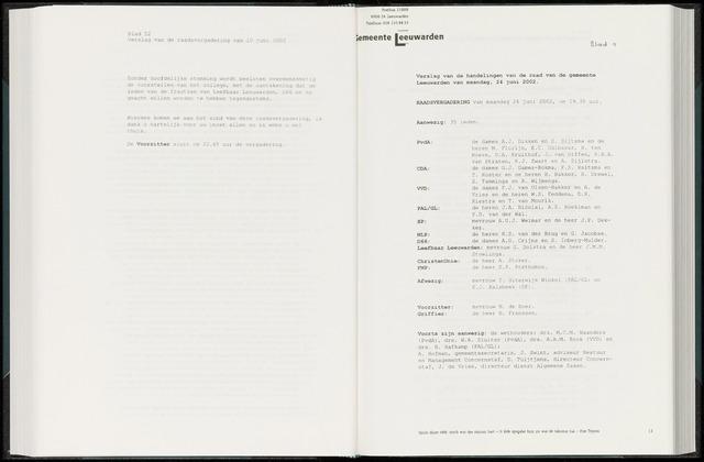 Raadsverslagen van de gemeente Leeuwarden, 1865-2007 (Notulen) 2002-06-24