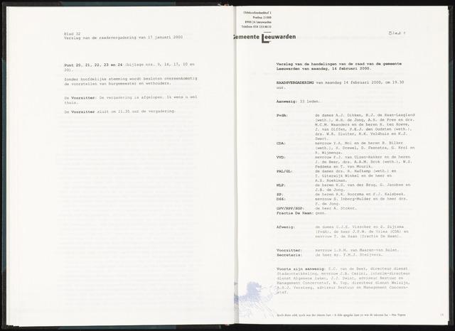 Raadsverslagen van de gemeente Leeuwarden, 1865-2007 (Notulen) 2000-02-14