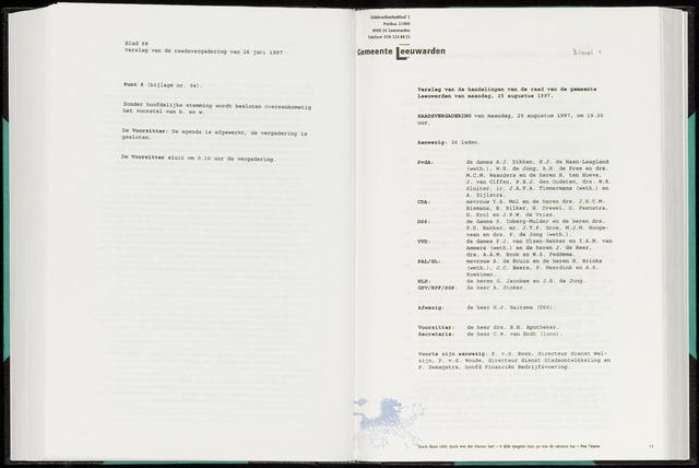 Raadsverslagen van de gemeente Leeuwarden, 1865-2007 (Notulen) 1997-08-25