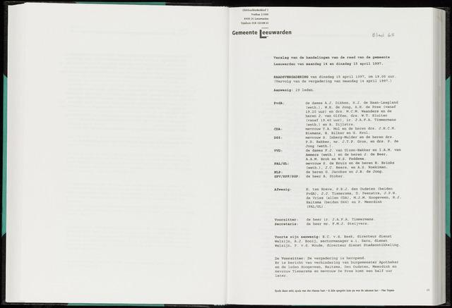 Raadsverslagen van de gemeente Leeuwarden, 1865-2007 (Notulen) 1997-04-15