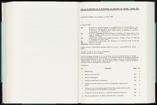 Raadsverslagen van de gemeente Leeuwarden, 1865-2007 (Notulen) 1984-10-01