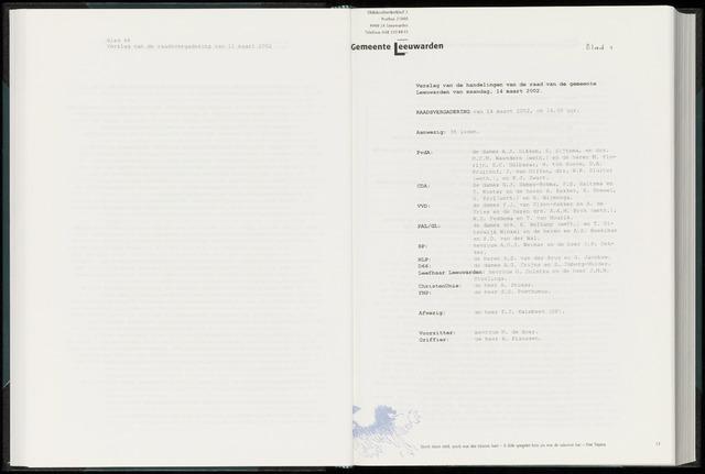 Raadsverslagen van de gemeente Leeuwarden, 1865-2007 (Notulen) 2002-03-14