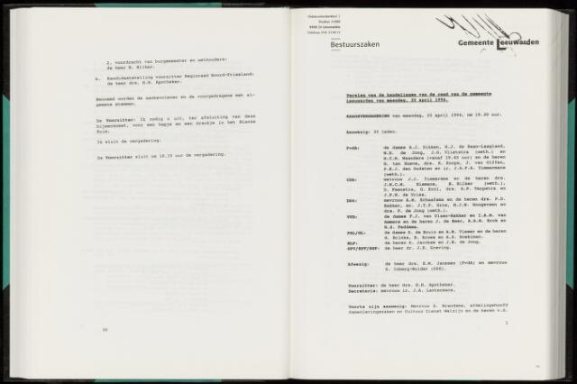 Raadsverslagen van de gemeente Leeuwarden, 1865-2007 (Notulen) 1994-04-25
