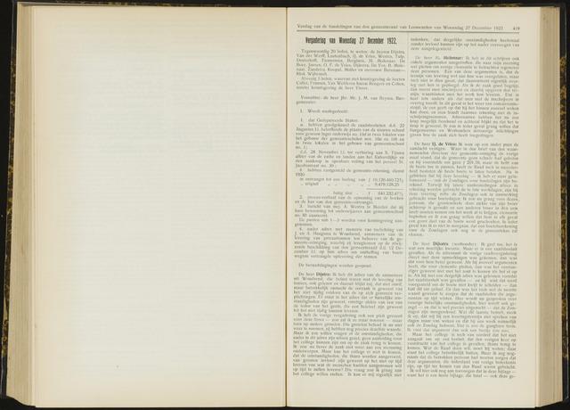 Raadsverslagen van de gemeente Leeuwarden, 1865-2007 (Notulen) 1922-12-27