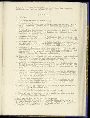 Notulen van de gemeenteraad van Leeuwarderadeel 1955-09-29