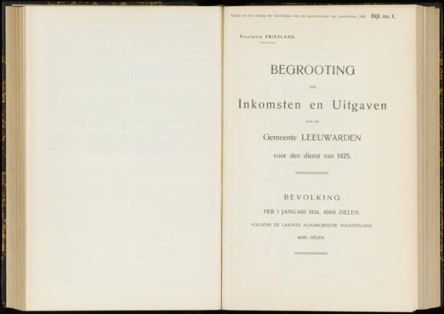 Raadsverslagen van de gemeente Leeuwarden, 1865-2007 (Bijlagen) 1925-01-01