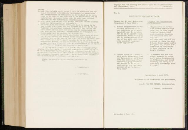 Raadsverslagen van de gemeente Leeuwarden, 1865-2007 (Schriftelijke vragen) 1951-01-01
