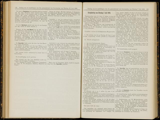 Raadsverslagen van de gemeente Leeuwarden, 1865-2007 (Notulen) 1908-07-07
