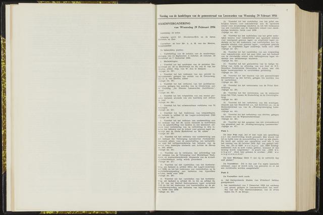 Raadsverslagen van de gemeente Leeuwarden, 1865-2007 (Notulen) 1956-02-29