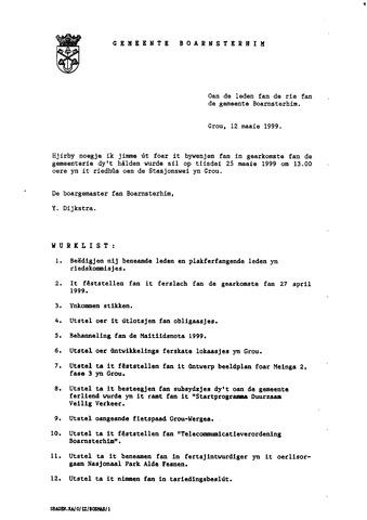 Boarnsterhim vergaderstukken gemeenteraad  1999-05-25