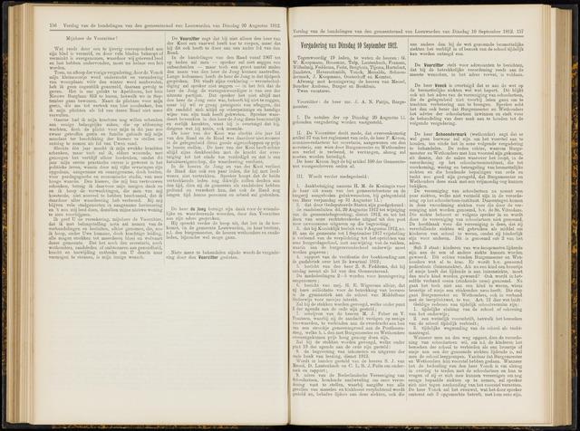 Raadsverslagen van de gemeente Leeuwarden, 1865-2007 (Notulen) 1912-09-10