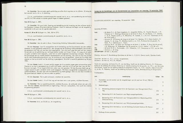 Raadsverslagen van de gemeente Leeuwarden, 1865-2007 (Notulen) 1984-09-10