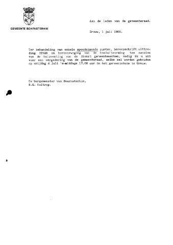 Boarnsterhim vergaderstukken gemeenteraad  1986-07-04
