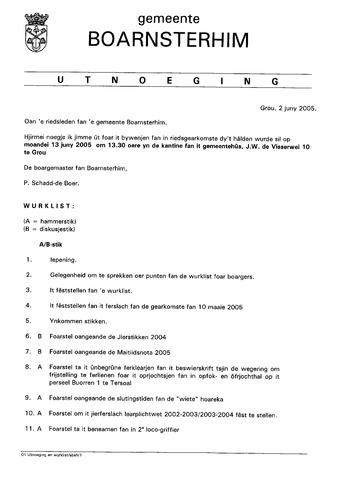 Boarnsterhim vergaderstukken gemeenteraad  2005-06-13