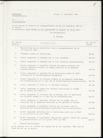 Notulen van de gemeenteraad van Leeuwarderadeel 1984-09-27