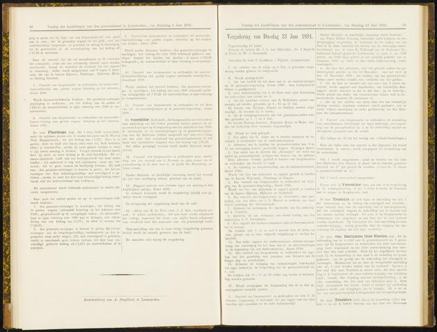 Raadsverslagen van de gemeente Leeuwarden, 1865-2007 (Notulen) 1891-06-23