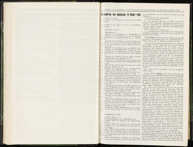 Raadsverslagen van de gemeente Leeuwarden, 1865-2007 (Notulen) 1950-03-15