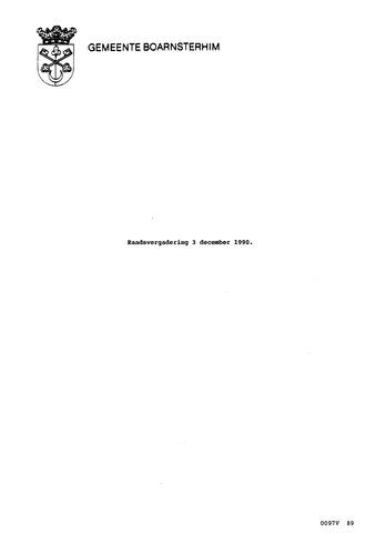 Boarnsterhim vergaderstukken gemeenteraad  1990-12-03