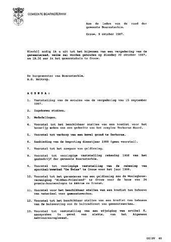 Boarnsterhim vergaderstukken gemeenteraad  1987-10-20