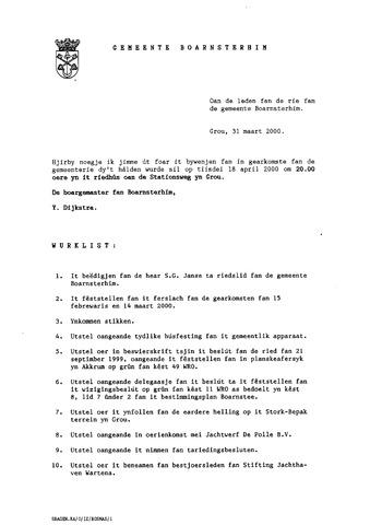 Boarnsterhim vergaderstukken gemeenteraad  2000-04-18