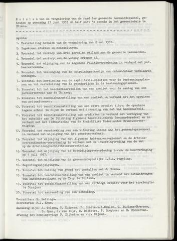 Notulen van de gemeenteraad van Leeuwarderadeel 1967-06-21