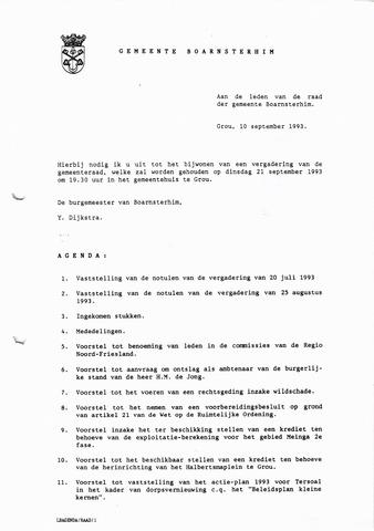 Boarnsterhim vergaderstukken gemeenteraad  1993-09-21