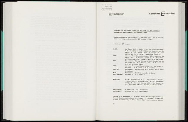 Raadsverslagen van de gemeente Leeuwarden, 1865-2007 (Notulen) 1994-10-11