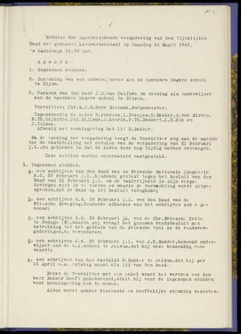 Notulen van de gemeenteraad van Leeuwarderadeel 1946-03-18