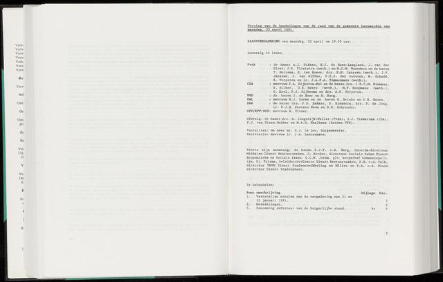 Raadsverslagen van de gemeente Leeuwarden, 1865-2007 (Notulen) 1991-04-22