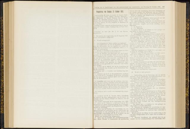 Raadsverslagen van de gemeente Leeuwarden, 1865-2007 (Notulen) 1921-10-25