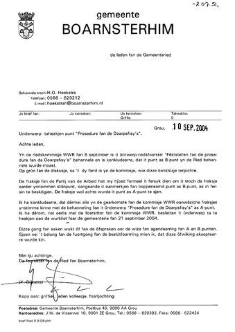 Boarnsterhim vergaderstukken gemeenteraad  2004-09-21