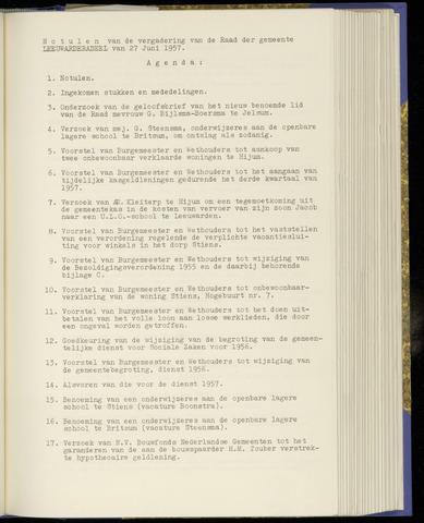 Notulen van de gemeenteraad van Leeuwarderadeel 1957-06-27