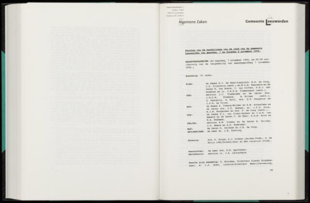 Raadsverslagen van de gemeente Leeuwarden, 1865-2007 (Notulen) 1994-11-07