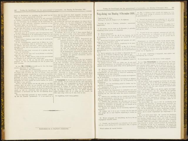 Raadsverslagen van de gemeente Leeuwarden, 1865-2007 (Notulen) 1891-12-08