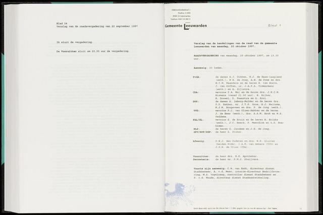 Raadsverslagen van de gemeente Leeuwarden, 1865-2007 (Notulen) 1997-10-20