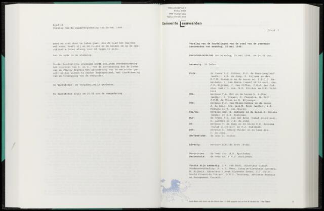 Raadsverslagen van de gemeente Leeuwarden, 1865-2007 (Notulen) 1998-05-25