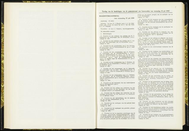 Raadsverslagen van de gemeente Leeuwarden, 1865-2007 (Notulen) 1959-07-15