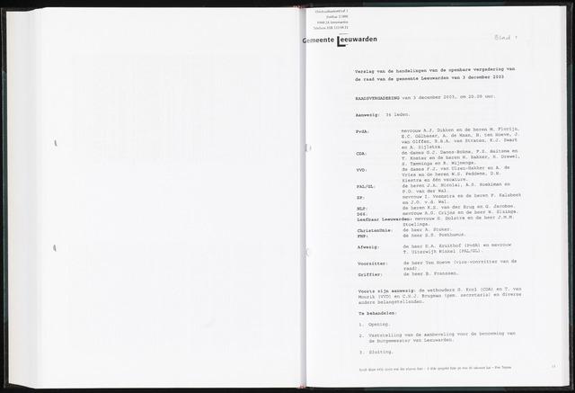 Raadsverslagen van de gemeente Leeuwarden, 1865-2007 (Notulen) 2003-12-03