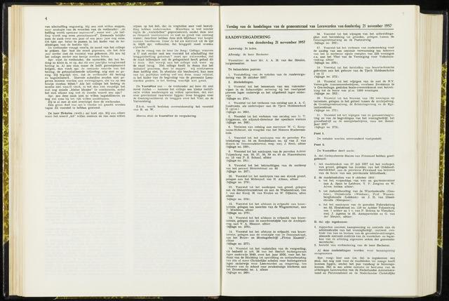 Raadsverslagen van de gemeente Leeuwarden, 1865-2007 (Notulen) 1957-11-21