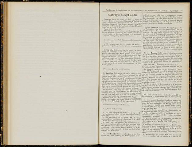 Raadsverslagen van de gemeente Leeuwarden, 1865-2007 (Notulen) 1908-04-14