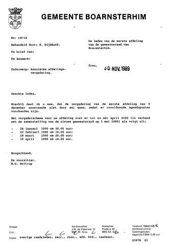 Boarnsterhim vergaderstukken gemeenteraad  1989-12-06