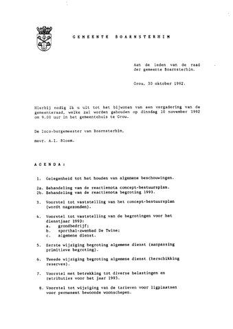 Boarnsterhim vergaderstukken gemeenteraad  1992-11-10