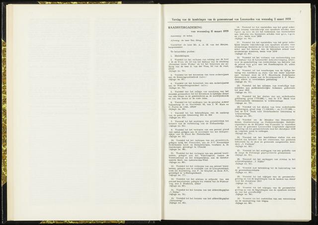 Raadsverslagen van de gemeente Leeuwarden, 1865-2007 (Notulen) 1959-03-11